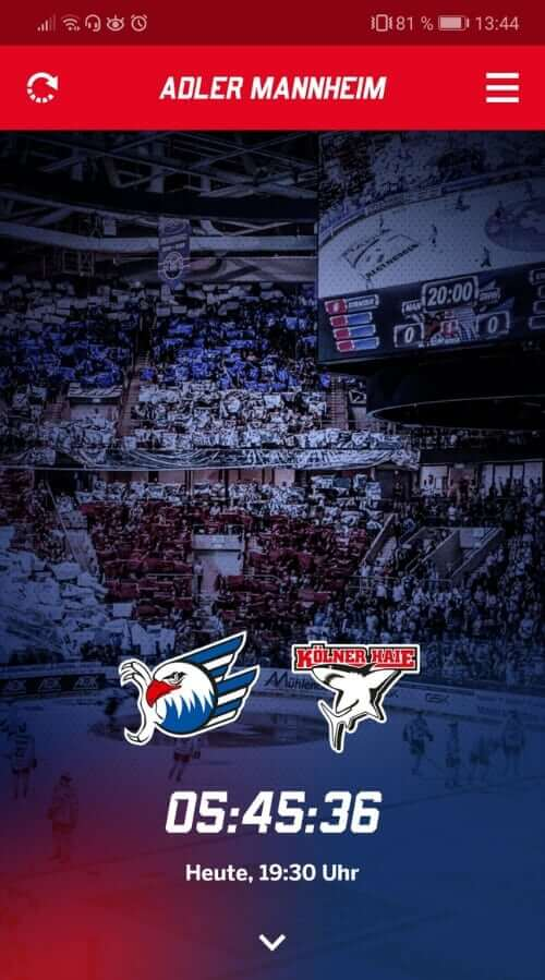 Adler Mannheim Fan App Screen