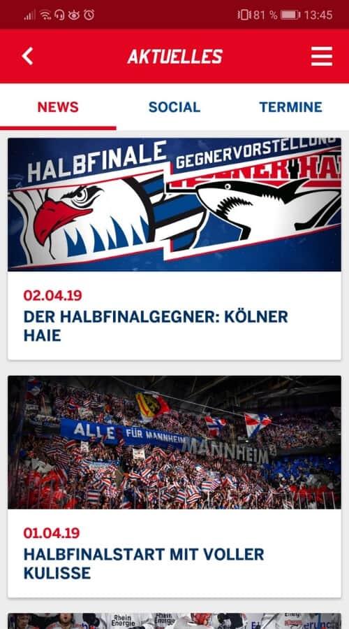 Adler Mannheim Fan App Screen