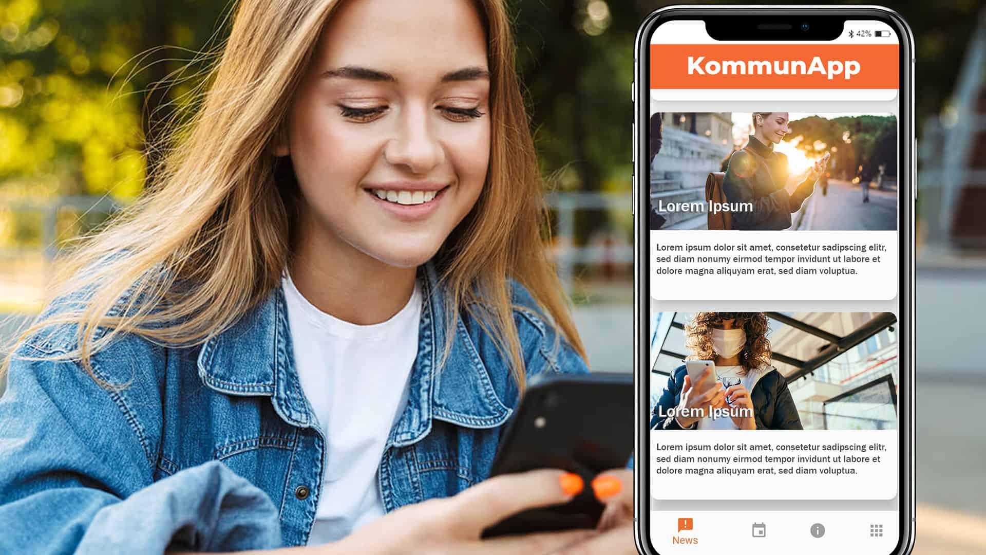 Mädchen sieht sich Stadt-App an